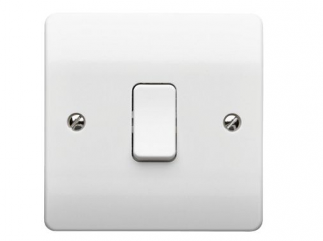 Light Switch 1 Gang 10A 1 Way SP Plate Switch K4870WHI