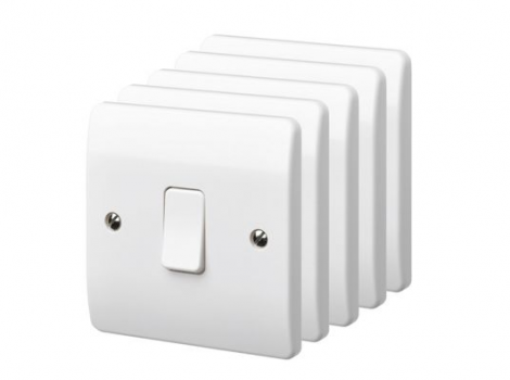 UK 1-GANG 2-WAY Light Switch 5 Pack