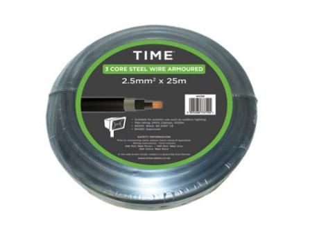 Pitacs 2.5mm² 3 Core Steel Armoured Cable 6943X Black 25m