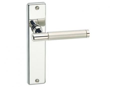 Door Handle-Lever Latch Polished Nickel with Satin Nickel Barrel