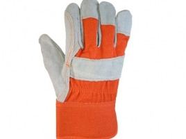 Suede Cowhide Leather and Denim Large Work Gloves