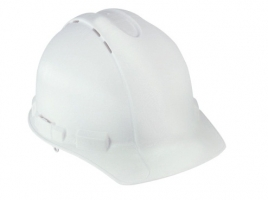 White Vented Hard Hat with Ratchet Adjustment
