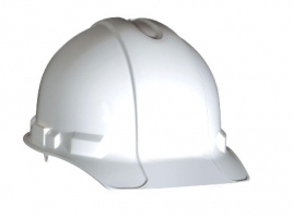 White Non-Vented Hard Hat with Pinlock Adjustment
