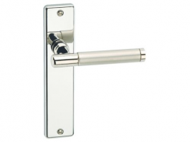 Door Handle-Lever Latch Polished Nickel with Satin Nickel Barrel